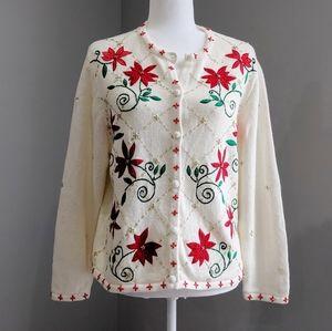 White Christmas Beaded Holiday Poinsettia Cardigan